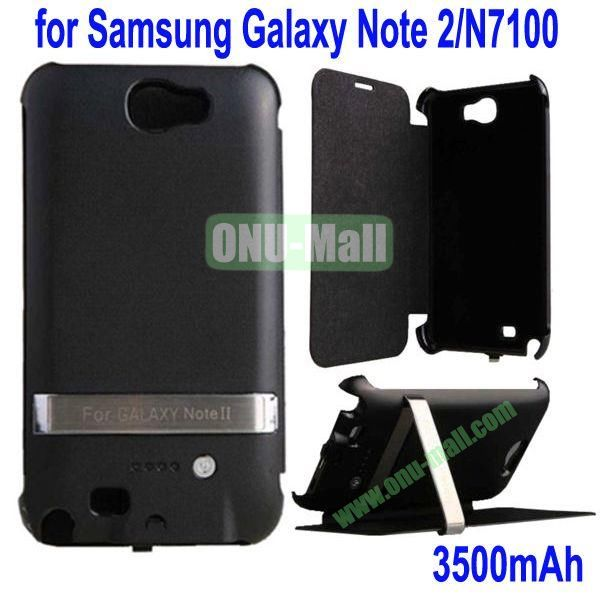 3500mAh External Back Battery Case Front Leather Cover for Samsung Galaxy Note 2N7100 with Stand(Black)