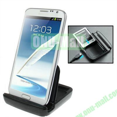 Dual Sync Cradle Charger Dock for Samsung Galaxy Note 2 II  N7100 with Back Holder(Black)