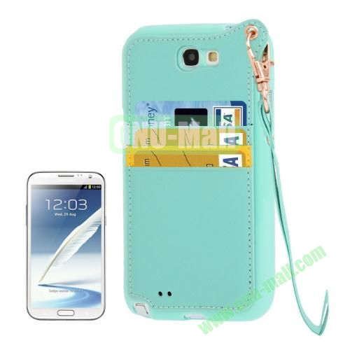Cross Texture Leather + TPU Case for Samsung Galaxy Note IIN7100 with Card Slots & Lanyard (Blue)