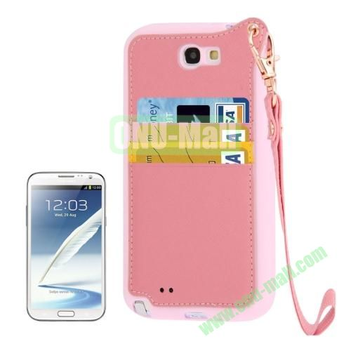 Cross Texture Leather + TPU Case for Samsung Galaxy Note IIN7100 with Card Slots & Lanyard (Pink)