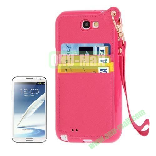 Cross Texture Leather + TPU Case for Samsung Galaxy Note IIN7100 with Card Slots & Lanyard (Rose)