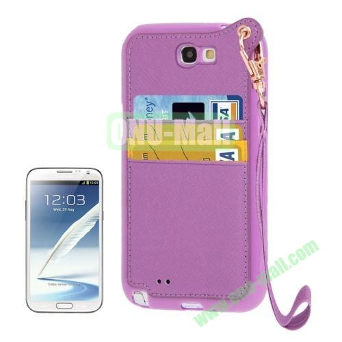 Cross Texture Leather + TPU Case for Samsung Galaxy Note IIN7100 with Card Slots & Lanyard (Purple)