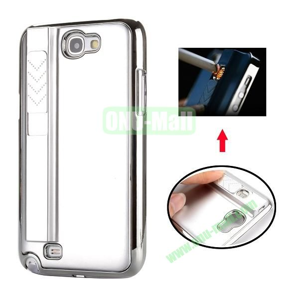 Electronic Rechargeable Smoking Cigarette Lighter Electroplated PC Hard Case for Samsung Galaxy Note 2 N7100 (Silver)