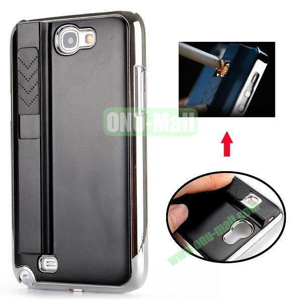 Electronic Rechargeable Smoking Cigarette Lighter Electroplated PC Hard Case for Samsung Galaxy Note 2 N7100 (Black)