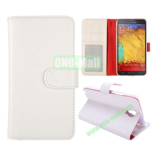 Litchi Texture Stand Flip Leather Case with Card Slots for Samsung Galaxy Note 3 Lite  N750 (White)