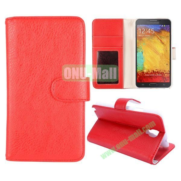 Litchi Texture Stand Flip Leather Case with Card Slots for Samsung Galaxy Note 3 Lite  N750 (Red)