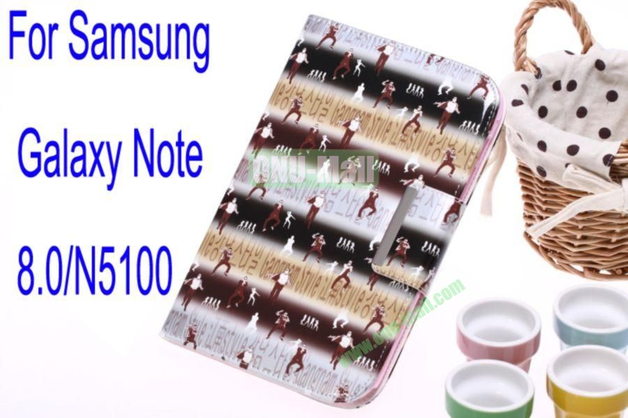 Gangnam Style Leather Case Cover for Samsung Galaxy Note 8.0N5100 With Card Slot(Grey)