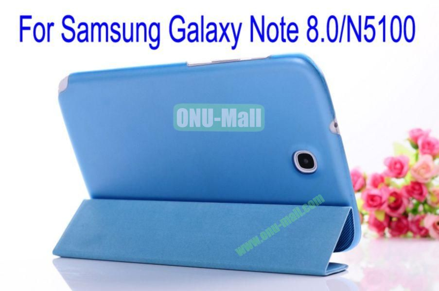 Ultrathin Fashionable Hard Back Flip Leather Cover Case for Samsung Galaxy Note 8.0N5100(Blue)