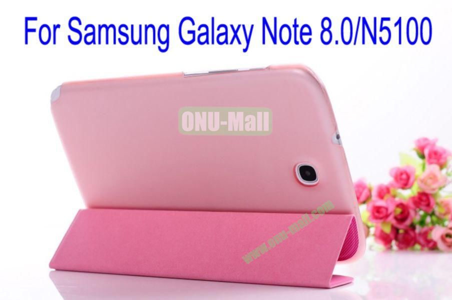 Ultrathin Fashionable Hard Back Flip Leather Cover Case for Samsung Galaxy Note 8.0N5100(Pink+Rose)