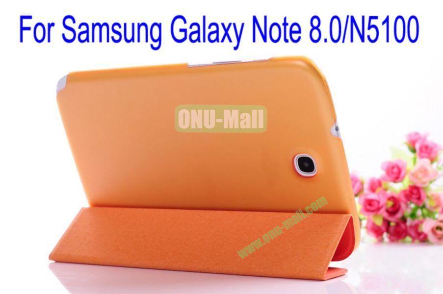 Ultrathin Fashionable Hard Back Flip Leather Cover Case for Samsung Galaxy Note 8.0N5100(Orange+Grey)