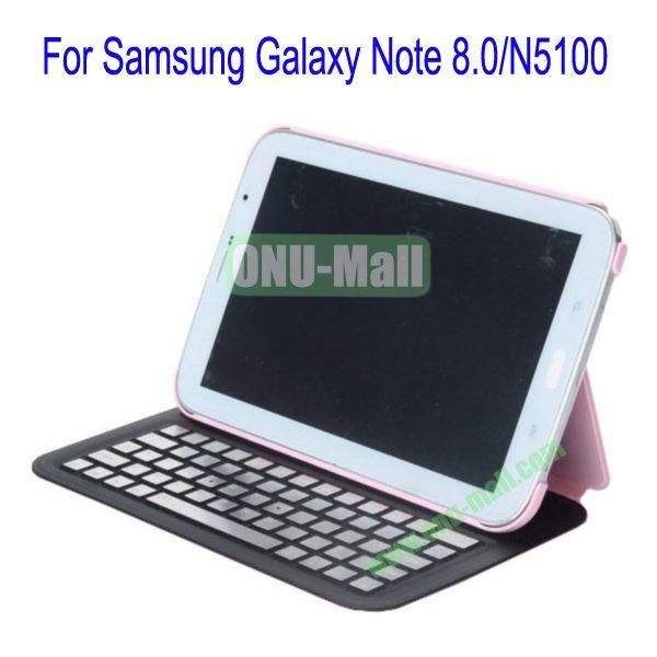 Ultrathin Flip Stand Bluetooth Keyboard Leather Case Cover for Samsung Galaxy Note 8.0N5100(Pink)