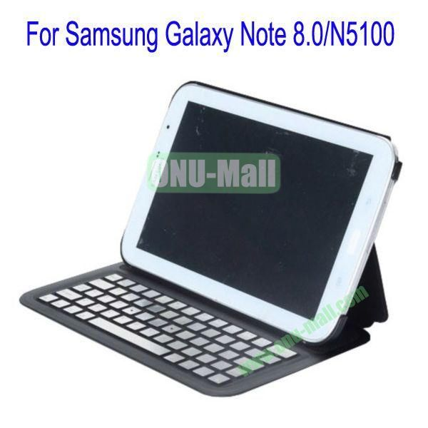 Ultrathin Flip Stand Bluetooth Keyboard Leather Case Cover for Samsung Galaxy Note 8.0N5100(Black)