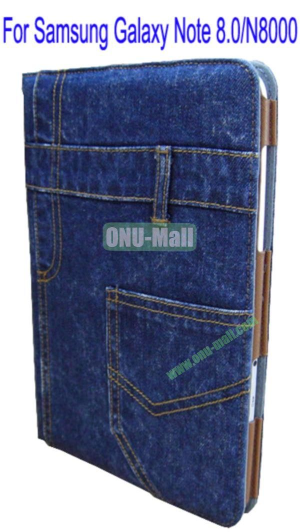 Wallet Jean Leather Stand Case Cover for Samsung Galaxy Note 10.1N8000(Dark Blue)