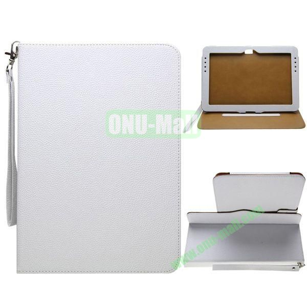 Portable Litchi Texture Leather Case for Samsung Galaxy Note 10.1N8000 with 2 Gears Holder and Card Slots (White)