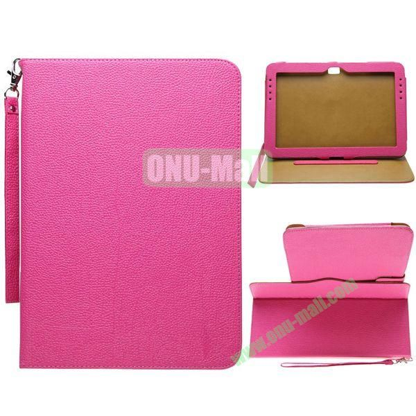 Portable Litchi Texture Leather Case for Samsung Galaxy Note 10.1N8000 with 2 Gears Holder and Card Slots (Rose)