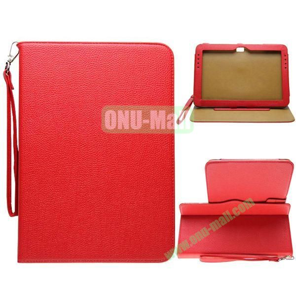 Portable Litchi Texture Leather Case for Samsung Galaxy Note 10.1N8000 with 2 Gears Holder and Card Slots (Red)