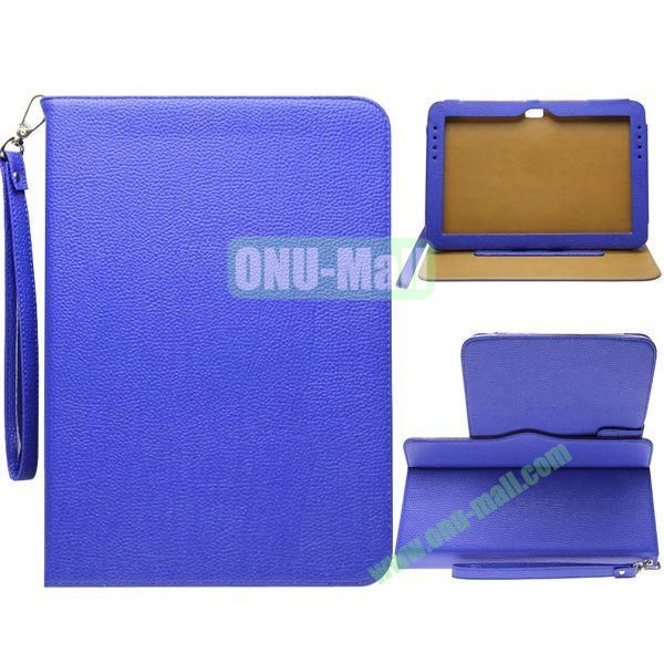 Portable Litchi Texture Leather Case for Samsung Galaxy Note 10.1N8000 with 2 Gears Holder and Card Slots (Blue)