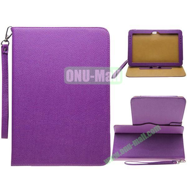 Portable Litchi Texture Leather Case for Samsung Galaxy Note 10.1N8000 with 2 Gears Holder and Card Slots (Purple)
