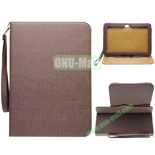 Portable Litchi Texture Leather Case for Samsung Galaxy Note 10.1N8000 with 2 Gears Holder and Card Slots (Brown)