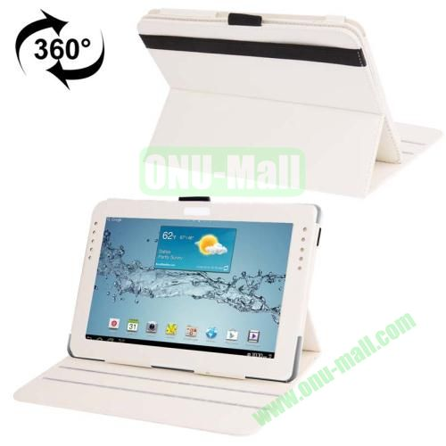 360 Degree Rotating Leather Case for Samsung Galaxy Note 10.1 N8000 with Filco and 3 Gears (White)