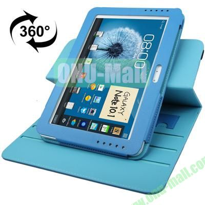 360 Degree Rotating Leather Case for Samsung Galaxy Note 10.1 N8000 with Filco and 3 Gears (Blue)
