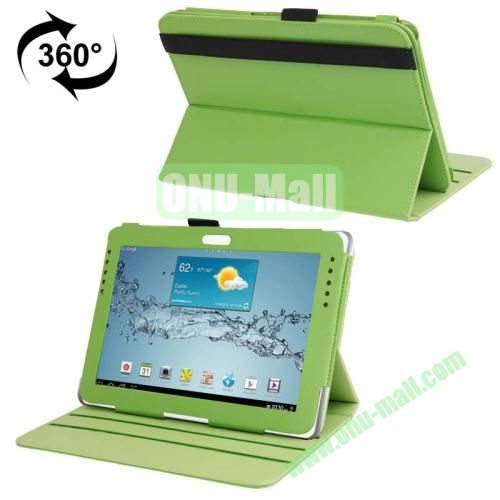 360 Degree Rotating Leather Case for Samsung Galaxy Note 10.1 N8000 with Filco and 3 Gears (Green)