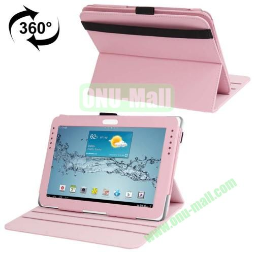 360 Degree Rotating Leather Case for Samsung Galaxy Note 10.1 N8000 with Filco and 3 Gears (Pink)
