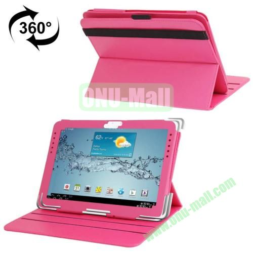 360 Degree Rotating Leather Case for Samsung Galaxy Note 10.1 N8000 with Filco and 3 Gears (Hot Pink)