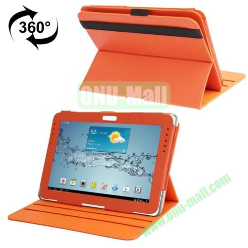 360 Degree Rotating Leather Case for Samsung Galaxy Note 10.1 N8000 with Filco and 3 Gears (Orange)