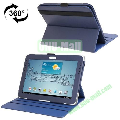 360 Degree Rotating Leather Case for Samsung Galaxy Note 10.1 N8000 with Filco and 3 Gears (Dark Blue)