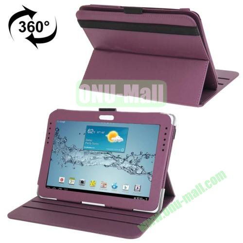 360 Degree Rotating Leather Case for Samsung Galaxy Note 10.1 N8000 with Filco and 3 Gears (Purple)