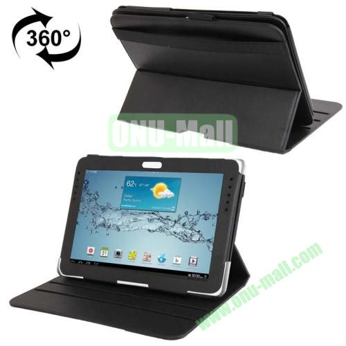 360 Degree Rotating Leather Case for Samsung Galaxy Note 10.1 N8000 with Filco and 3 Gears (Black)