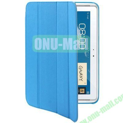 Belk Series Cross Texture 4-fold Leather Case for Samsung Galaxy Note (10.1)  N8000  N8010 with Holder (Blue)