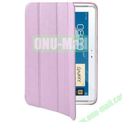 Belk Series Cross Texture 4-fold Leather Case for Samsung Galaxy Note (10.1)  N8000  N8010 with Holder (Pink)
