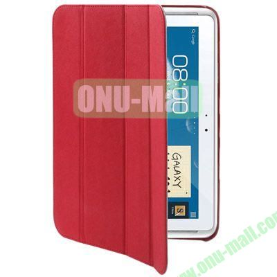 Belk Series Cross Texture 4-fold Leather Case for Samsung Galaxy Note (10.1)  N8000  N8010 with Holder (Red)