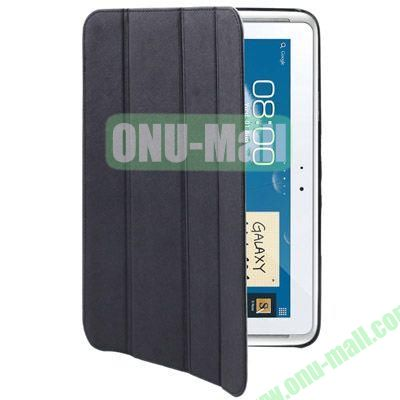 Belk Series Cross Texture 4-fold Leather Case for Samsung Galaxy Note (10.1)  N8000  N8010 with Holder (Black)