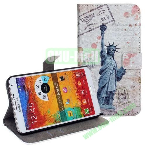 Statue of Liberty Pattern Leather Case with Card Slots and Holder for Samsung Galaxy Note 3  N9000