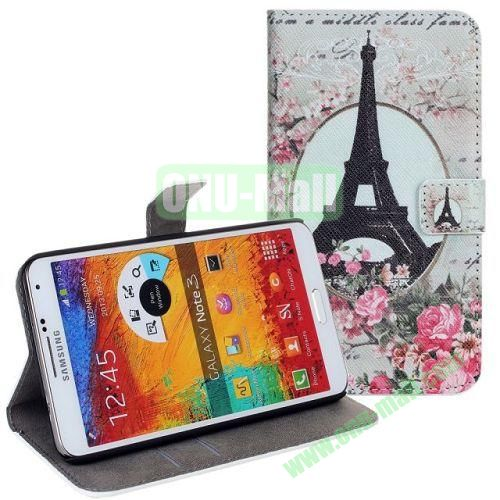 Paris Tower Pattern Leather Case with Card Slots and Holder for Samsung Galaxy Note 3  N9000
