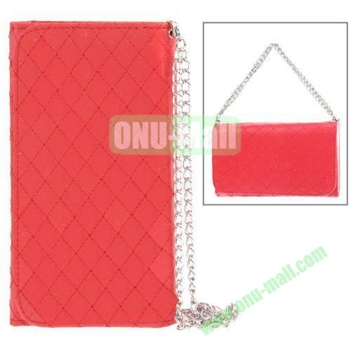 Handbag Style Plaid Texture Leather Case for Samsung Galaxy Note III  N9000 with Card Slots (Red)