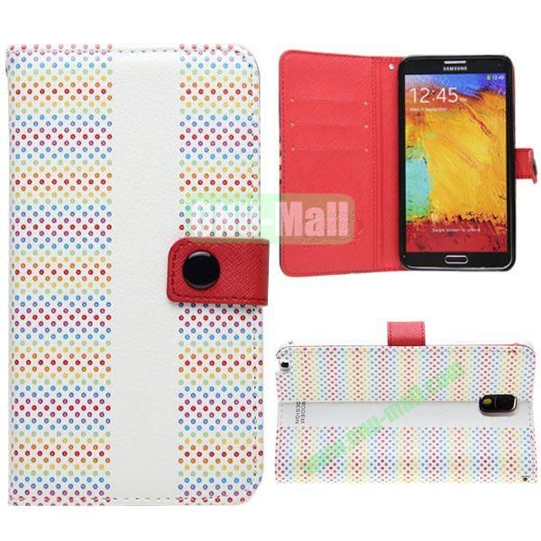Korean Style Dot Pattern Leather Cover for Samsung Galaxy Note 3 N9000 with Credit Card Slots and Holder