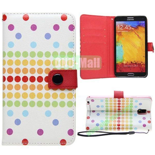 Korean Style Dot Pattern Leather Cover for Samsung Galaxy Note 3 N9000 with Credit Card Slots and Holder(White)