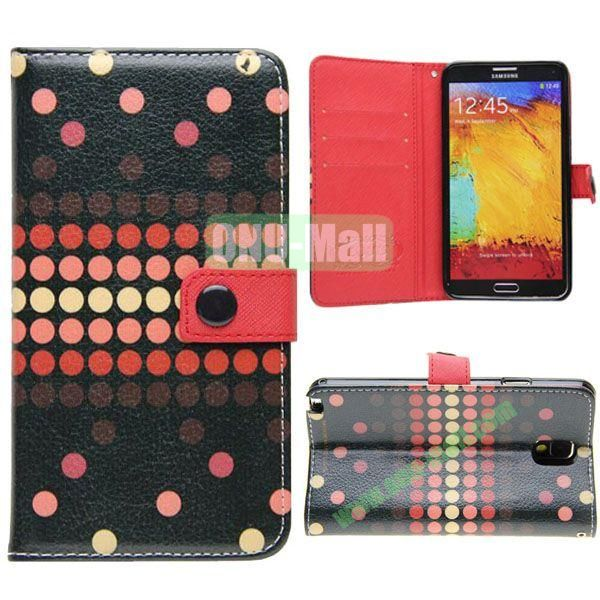 Korean Style Dot Pattern Leather Cover for Samsung Galaxy Note 3 N9000 with Credit Card Slots and Holder(Black)