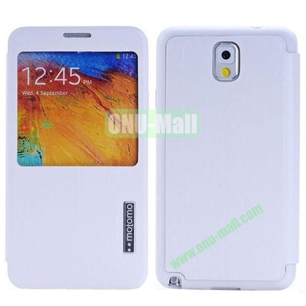 Litchi Texture Leather Case for Samsung Galaxy Note 3N9000 with Call Display ID (White)
