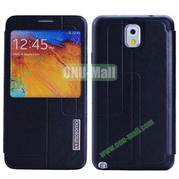 Litchi Texture Leather Case for Samsung Galaxy Note 3N9000 with Call Display ID (Black)