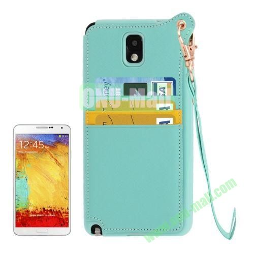 Fashion Style TPU + Leather Cover Case for Samsung Galaxy Note 3 N9000 with Credit Card Slots and Lanyard(Green)