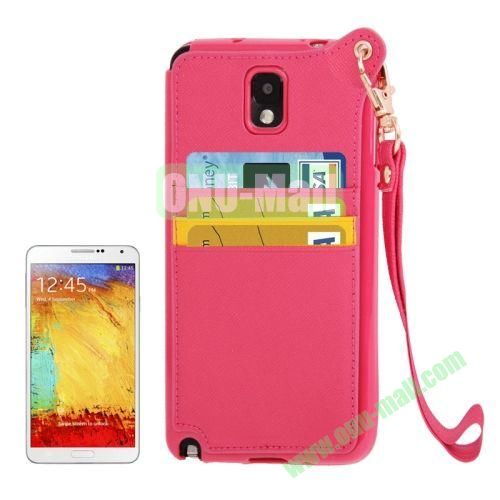 Fashion Style TPU + Leather Cover Case for Samsung Galaxy Note 3 N9000 with Credit Card Slots and Lanyard(Rose)