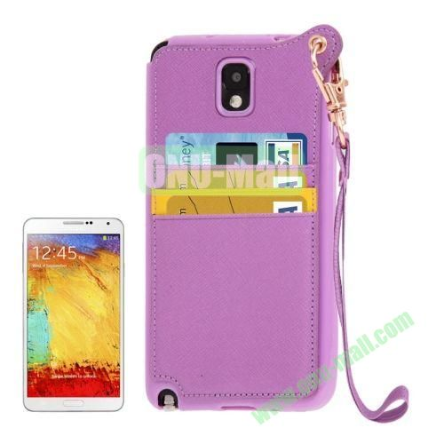 Fashion Style TPU + Leather Cover Case for Samsung Galaxy Note 3 N9000 with Credit Card Slots and Lanyard(Purple)