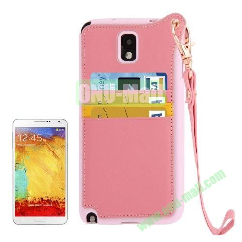 Cross Texture Leather + TPU Case for Samsung Galaxy Note IIIN9000 with Card Slots & Lanyard (Pink)