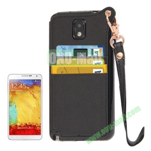 Cross Texture Leather + TPU Case for Samsung Galaxy Note IIIN9000 with Card Slots & Lanyard (Black)