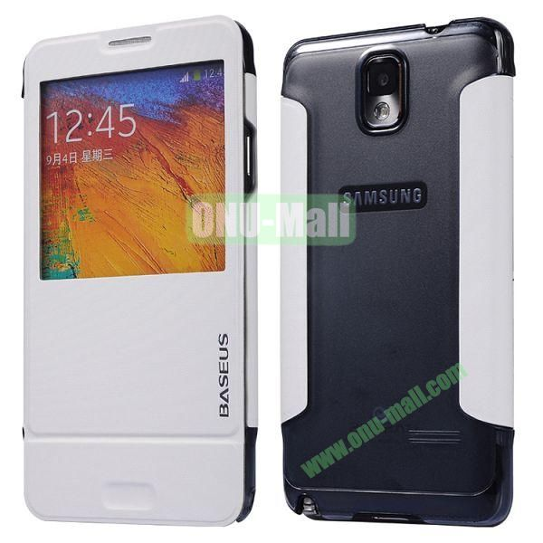 Baseus Leather Case for Samsung Galaxy Note 3 N9005N9002 Window Folio Leather Skin Case Cover (White)